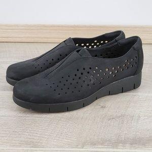 Clarks Artisan Black Nubuck Perforated Daelyn Shoe